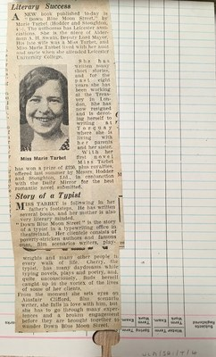 Clipping pasted to the back of M L Tarbet's student record card, following her literary career. From the University of Leicester Archives, ULA/SR1/T/4.