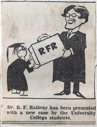 Caricature of Dr Rattray being presented with a case when he left the University College in 1931. Taken from page 134 of the second press cuttings book in the University archives. Caption below reads 'Dr. R. F. Rattray has been presented with a new case by the University College students.'