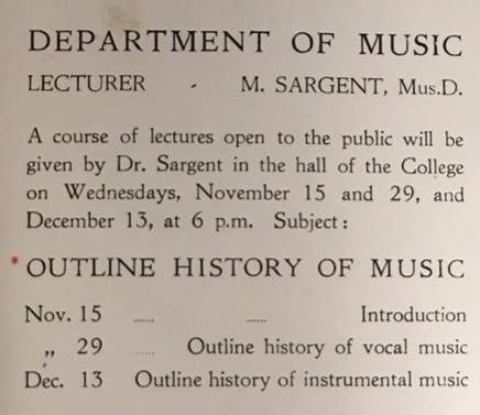 Advertisement for a course of public lectures by Malcom Sargent, Department of Music c.1922
