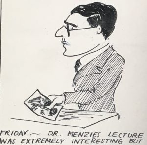 Sketch of A C Menzies by a student in The Wave Review, December 1930 (a student publication of Leicester University College)