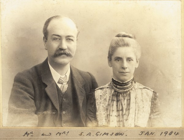 Black and white photograph of Sydney & Mrs Gimson, courtesy of Leicester Secular Society
