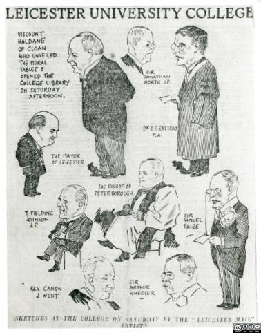 Cartoon of founding figures of the University of Leicester from Leicester Mail 1923. Pictured are Viscount Haldane, Sir Jonathan North, Dr Rattray, the Bishop of Peterborough, Sir Samuel Faire, Sir Arthur Wheeler, Rev. Canon J. Went.