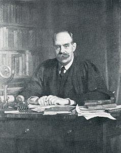 Photograph of portrait of Walter Lee Sargant, former Headmaster of Oakham School in Rutland, copy of portrait at Oakham School