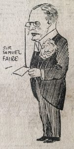 Cartoon of Sir Samuel Faire from the Leicester Mail, 07 May 1923, from a collection of press cuttings in the University Archives.