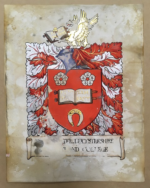 Coat of Arms for University of Leicester, paint and gold on vellum, in the University's Archives and Special Collections.