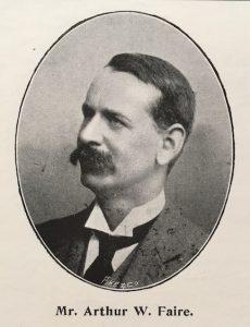 Black and white photograph of Mr Arthur W. Faire, with caption beneath 'Mr Arthur W. Faire'.