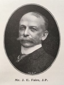 Photograph of John Edward Faire, with caption Mr J E Faire, JP.