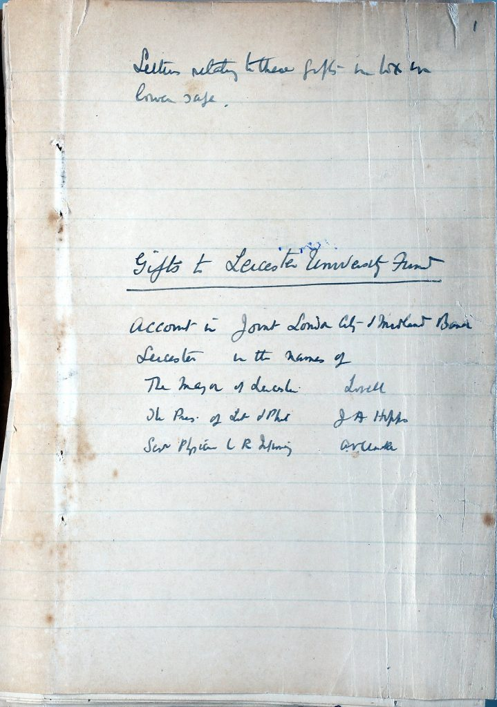 Colour photograph of page from Dr Astley Clarke's scrapbook recording donations towards the founding of the University of Leicester.