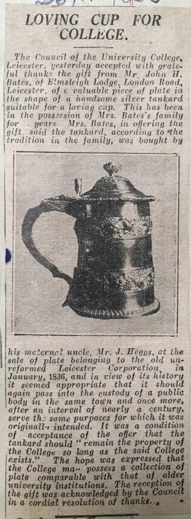 Press cutting titled 'Loving cup for College', showing a photograph of the cup.