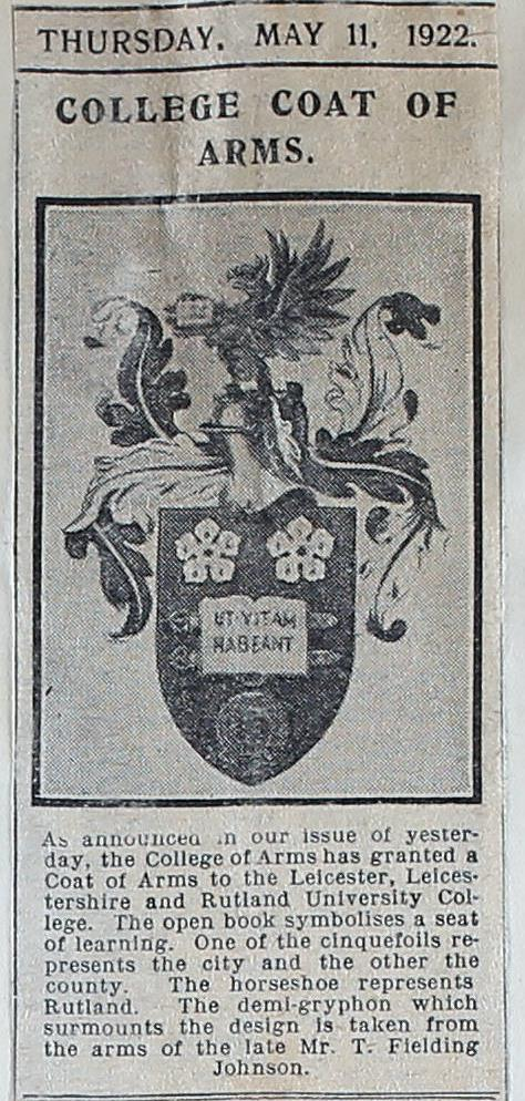 Black and white photograph of newspaper article dated 11 May 1922 headed 'College Coat of Arms' reportingon the grant of a coat of arms to Leicester, Leicestershire and Rutland College.
