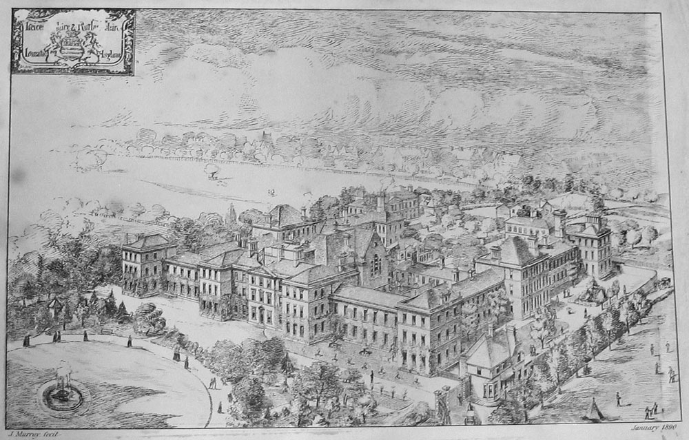Engraved print of Leicestershire and Rutland Asylum by James Murray, used by the Refuge or Detention project.