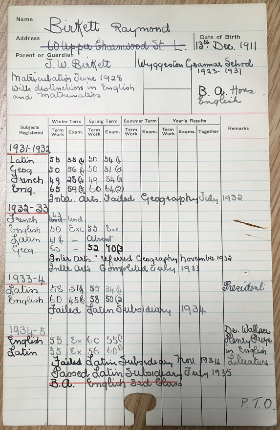 Raymond Birkett's student record card, University of Leicester Archives, ULA/SR1/B/82