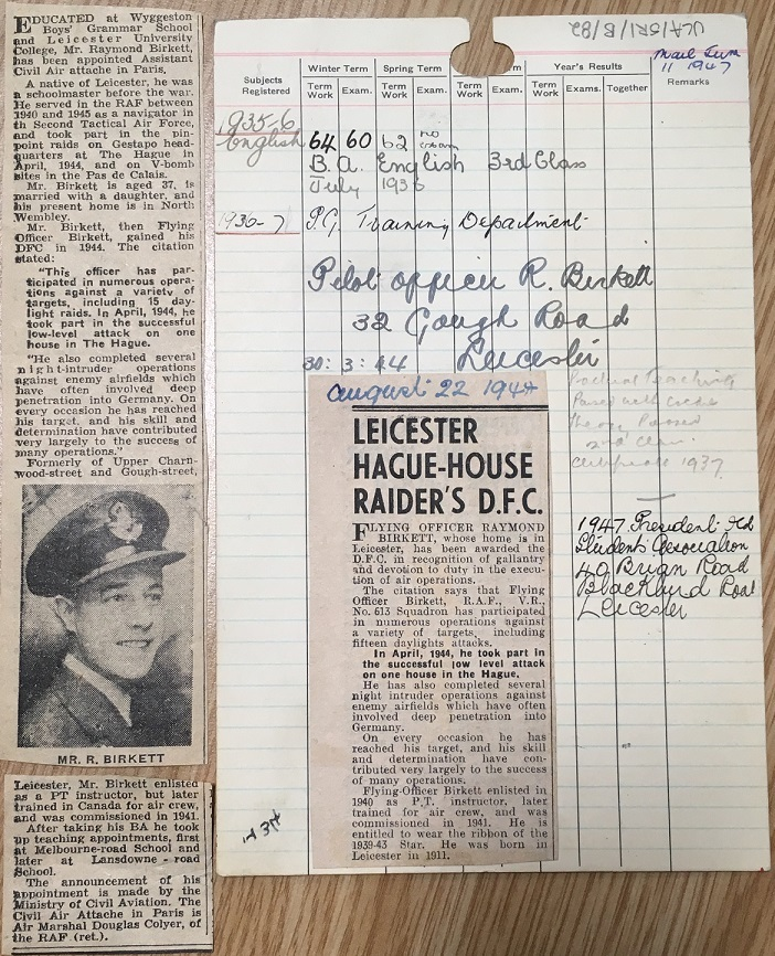 Reverse of Raymond Birkett's student record card, with clippings that were attached. University of Leicester Archives, ULA/SR1/B/82.