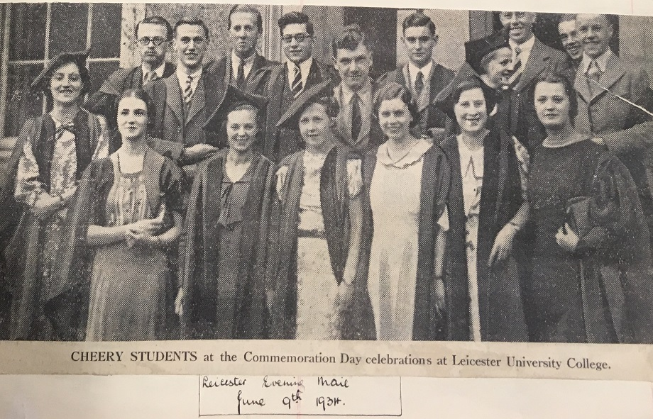 J H Plumb (back left) at graduation from the University College at Leicester in June 1934: a clipping kept in the University of Leicester Archives, Press Cuttings Book 2, p.169, from the Leicester Evening Mail 09 June 193