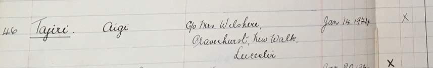Aigi Tajiri's name as it appears in the first Student Register book, he is recorded as studying English in the 1923-24 year (University of Leicester Archives, ULA/SR2/1)