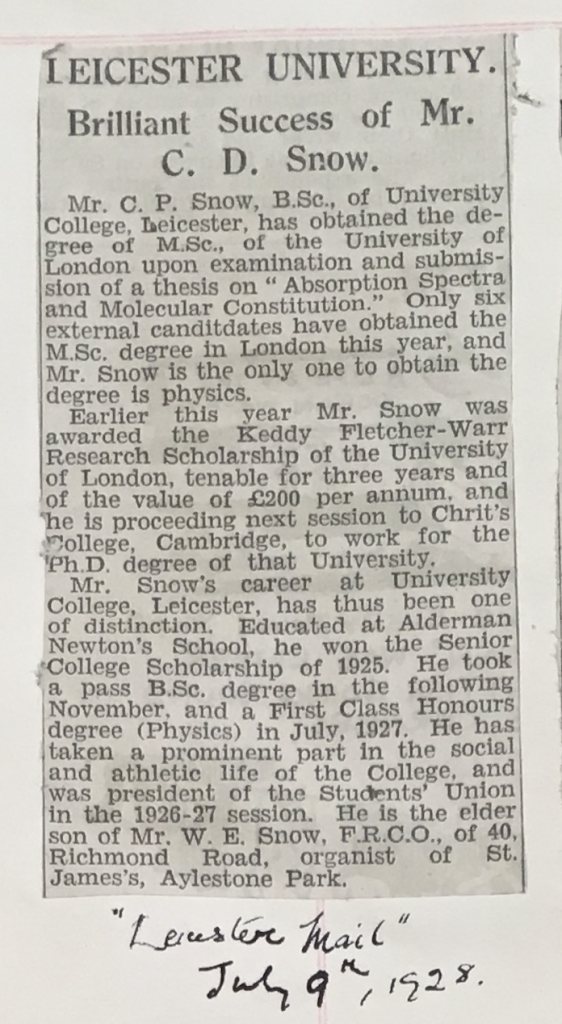Clipping from the University of Leicester Archives' Press Cuttings Book 2 (p.97) about C P Snow, from a local paper of July 1928