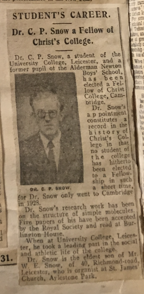 Clipping from the University of Leicester Archives' Press Cuttings Book 2 (p.128) about C P Snow, from a local paper of January 1931
