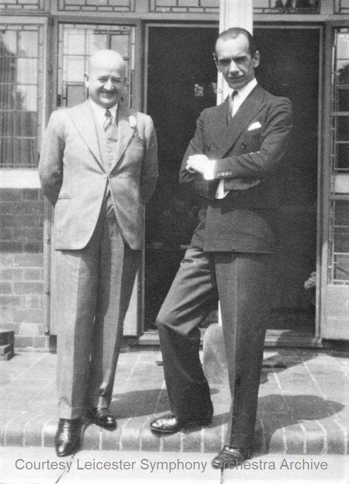 Black and white photograph of Karl Russell with Malcolm Sargent, courtesy of Leicester Symphony Orchestra