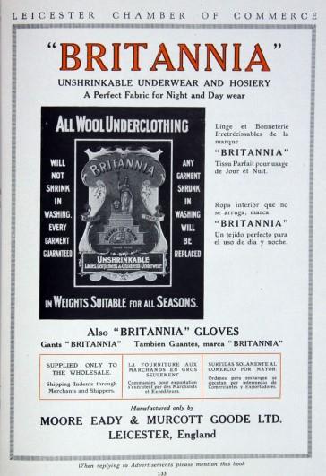 Advert for Moore, Eady's 'Britannia' underwear
