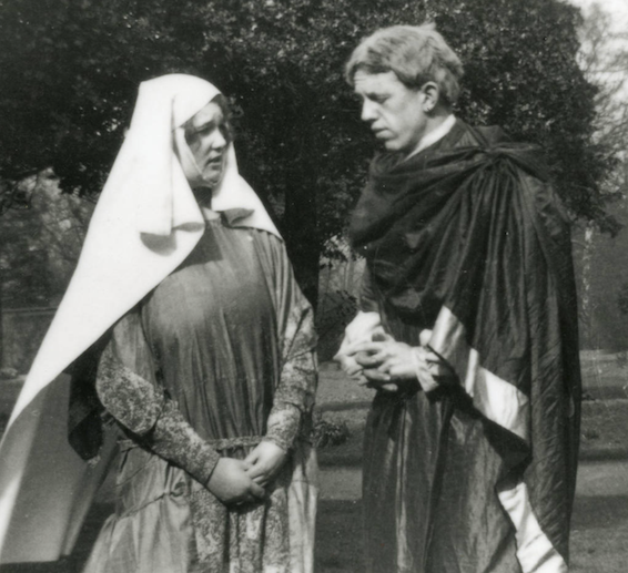 Black and white photograph of J Raby and C P Snow as the Nurse and the Blind Wise Man in the University College Leicester Dramatic Society production of The Dragon, 1926 (University of Leicester Archives, ULA/FG6/1/3).
