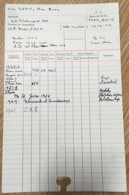 Photograph of C. P. Snow's student record card (ULA/SR1/S/92)