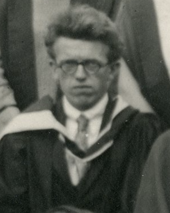 Cropped black and white photograph of C P Snow in his first year at the University College of Leicester, from a class photograph taken in 1926 (University of Leicester Archives, ULA/FG5/1/4).
