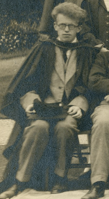 Cropped photograph of C P Snow at the University College in Leicester, from a class photograph of 1927 (University of Leicester Archives, ULA/FG5/1/5)