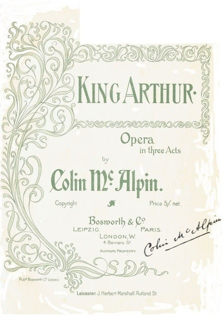 Title page from Colin McAlpin's opera commissioned by Leicester Mayor, Herbert Marshall