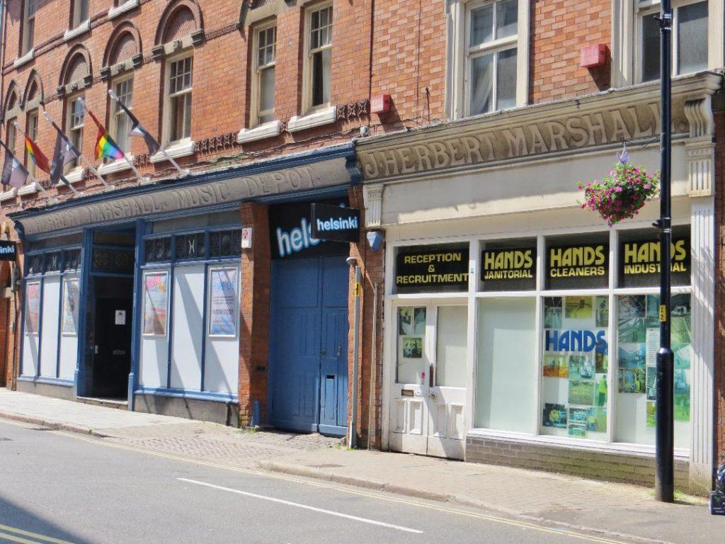 Colour photograph of Herbert Marshall Music Depot shop signs, Rutland Street. Courtesy of Sam Dobson.