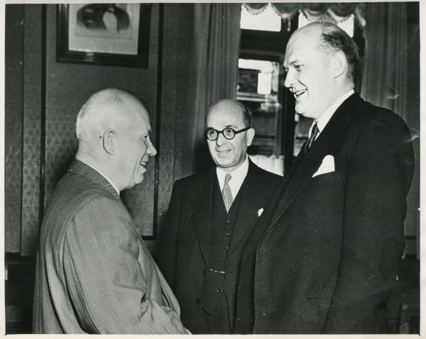 Black and white photograph of Cyril Osborne meeting Nikita Kruschev, courtesy Peter Osborne.