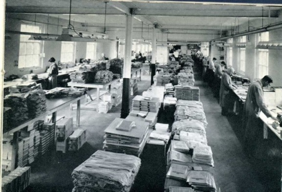 Black and white photograph of a department at Towle's factory