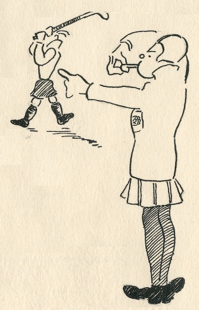 Cartoon of student hockey, taken from The Wave Review (University of Leicester student publication) of 20th November 1930. University of Leicester Archives ULA/P/MN6/6/4.