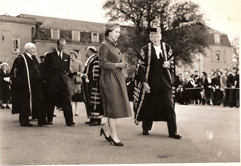 Black and white photograph of Queen Elizabeth II at the opening of the Percy Gee Building 1958